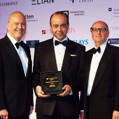 In 2015, Daniel Pinto (centre) was awarded Entrepreneurial Individual of the Year at Citywealth Magic Circle Awards. Pictured with Gyles Brandreth (left) and Philip Le Cornu of Elian.